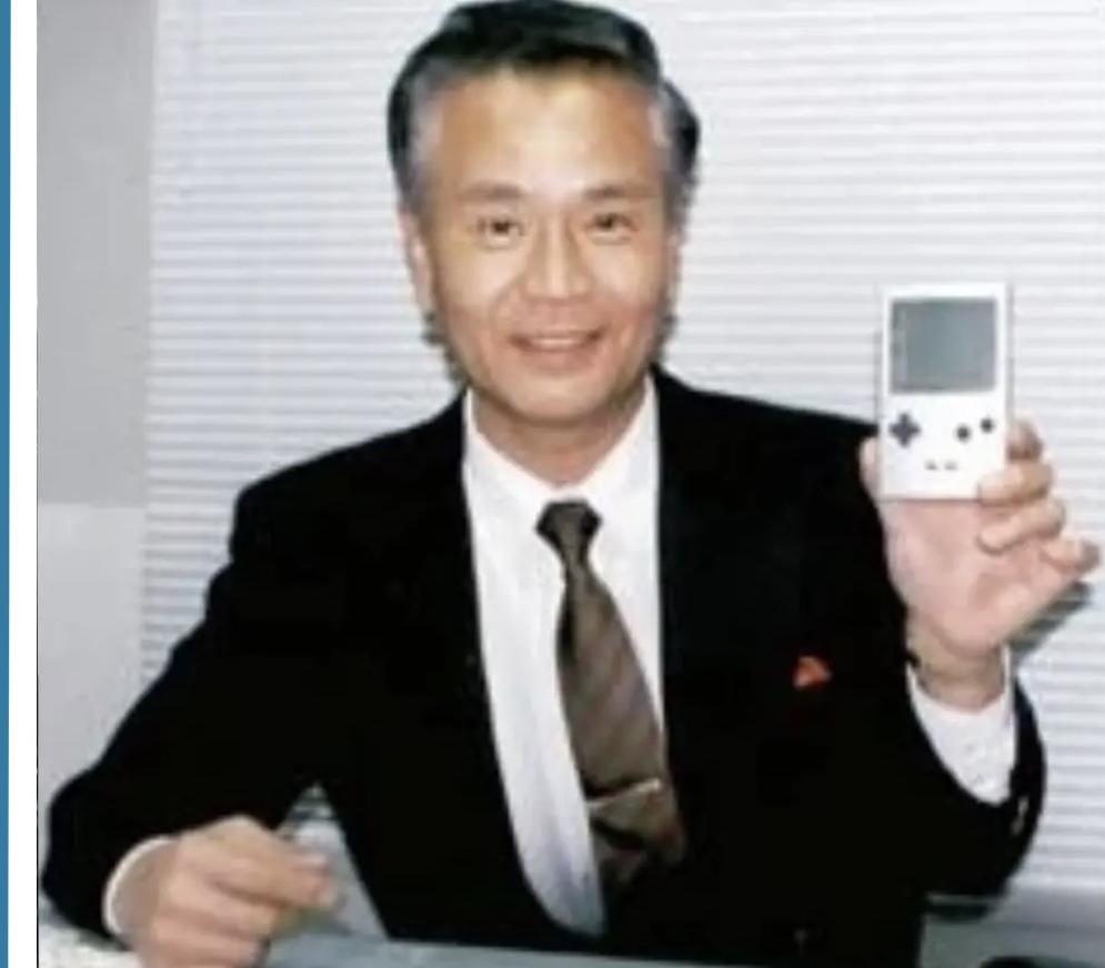 Gunpei Yokoi with Gameboy Pocket