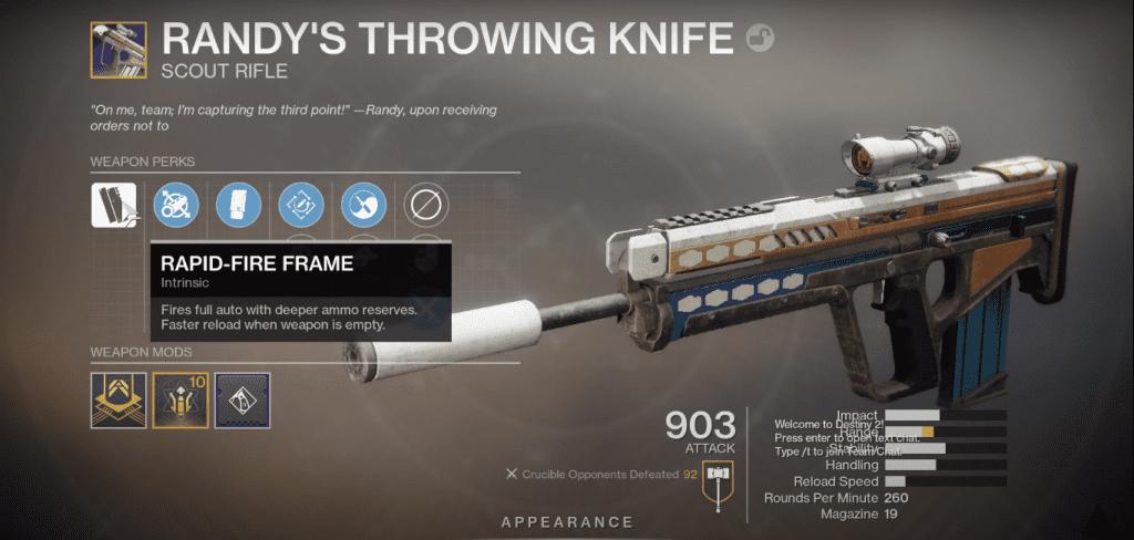 View of the gun in the game menu.