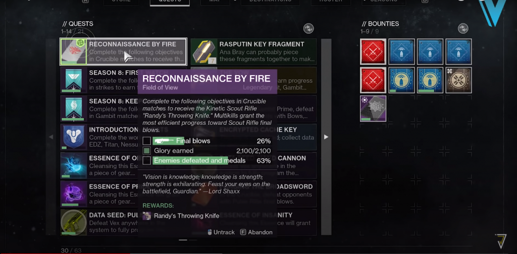 Tasks for Reconnaissance by Fire quest.