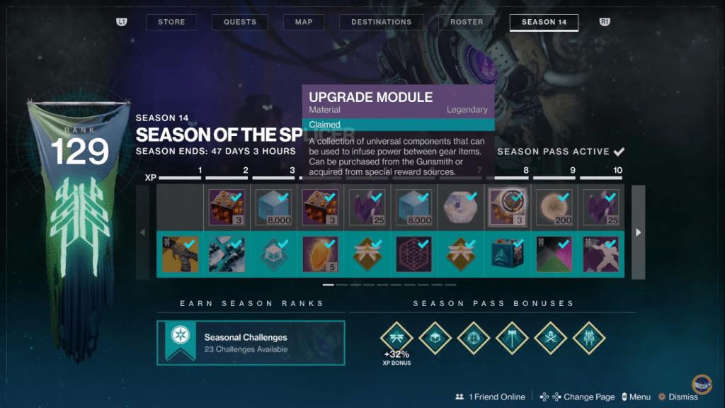 Upgrade Modules as rewards in season pass.