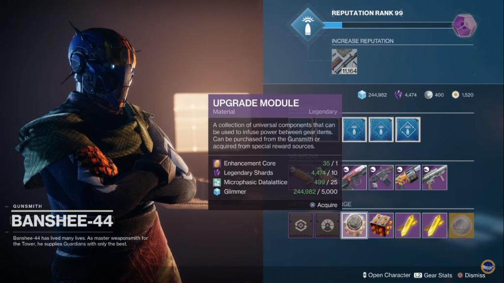 Menu showing buying the Upgrade Modules from Banshee-44.