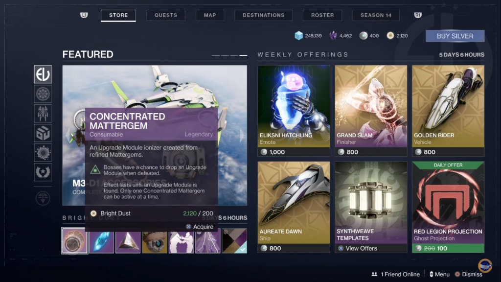 buying Concentrated Matttergem in the Eververse store.