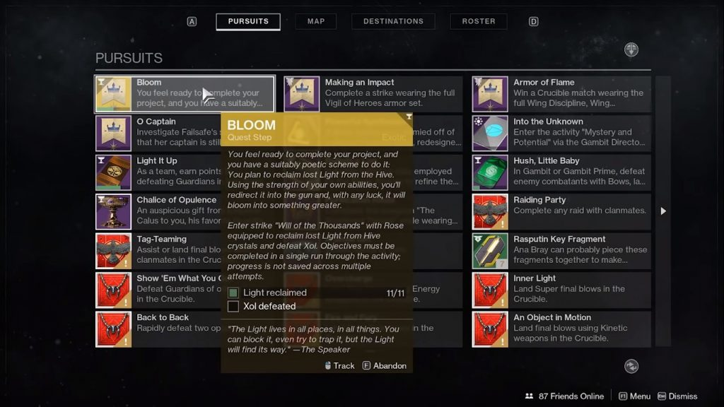 Menu showing Bloom, the final quest step.