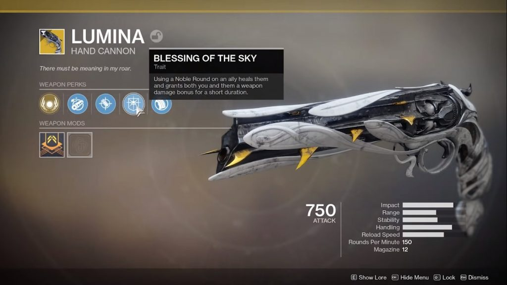 Menu showing Lumina, unlocked by completing A weapon of hope quest.