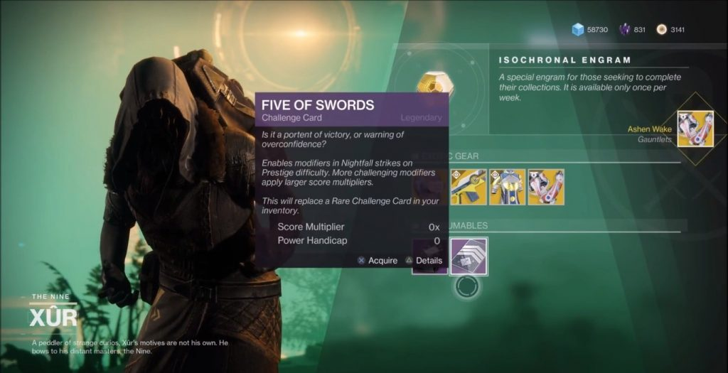 Xur selling Five of swords challenge card.