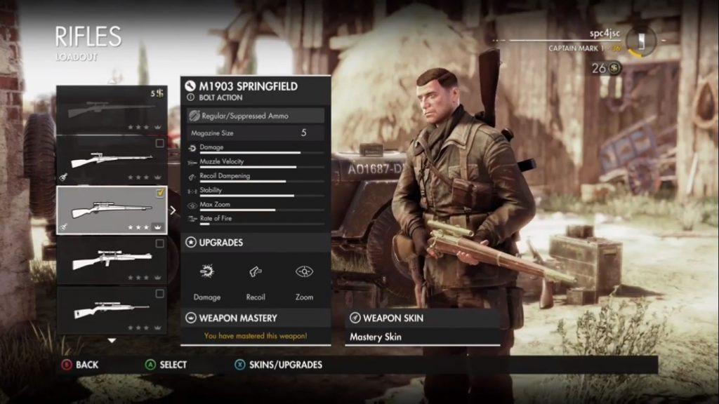 M1903 Springfield in game menu.