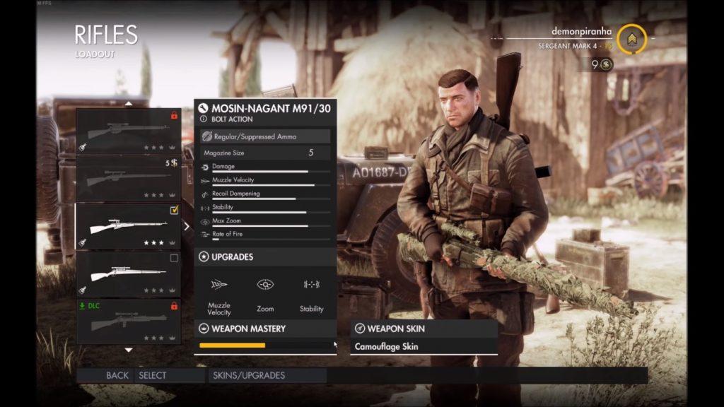 Mosin in game menu.