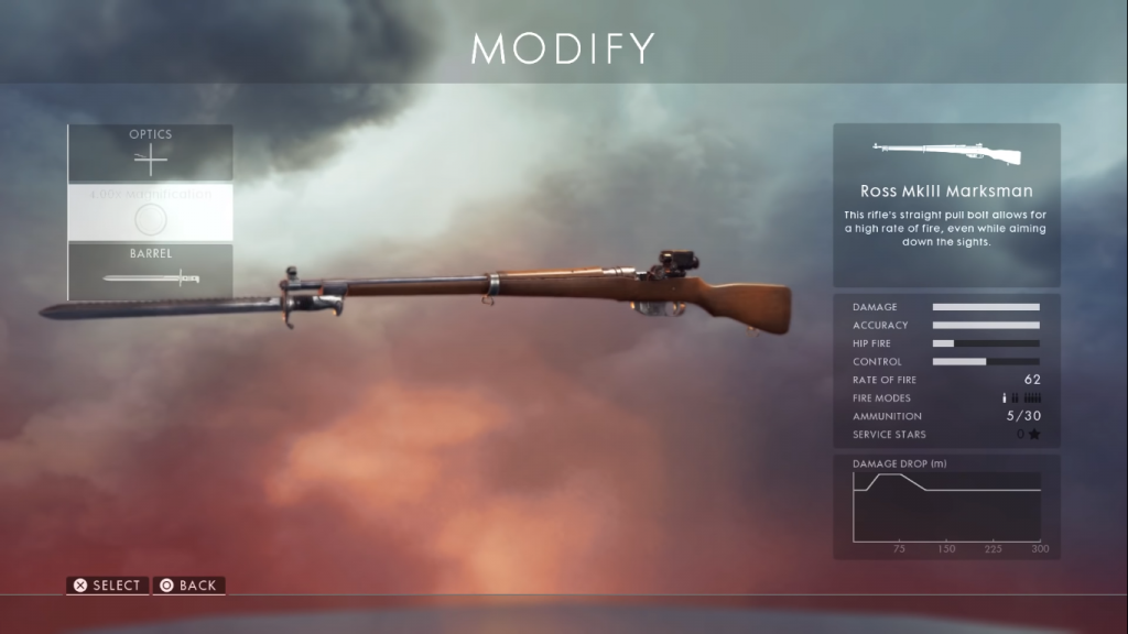Gun card showing the Ross MK III one of the best sniper rifles in Battlefield 1