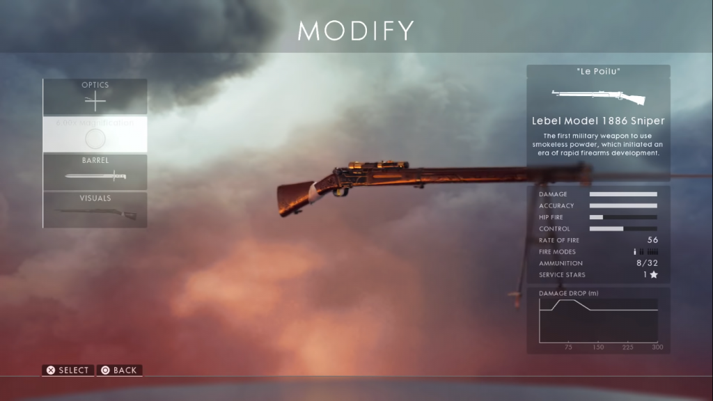 card showing the Lebel- one of the best sniper rifles in Battlefield 1.