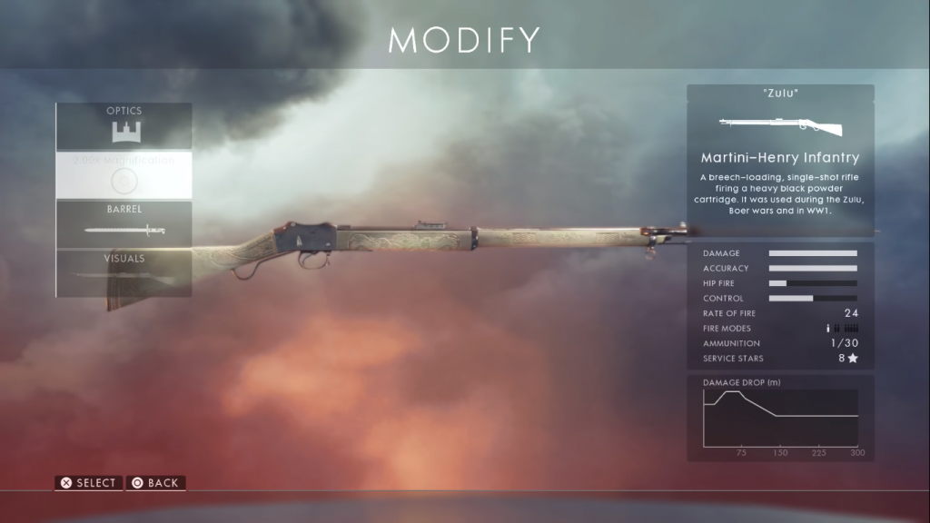 Gun card showing the Martini Henry one of the best sniper rifles in Battlefield 1