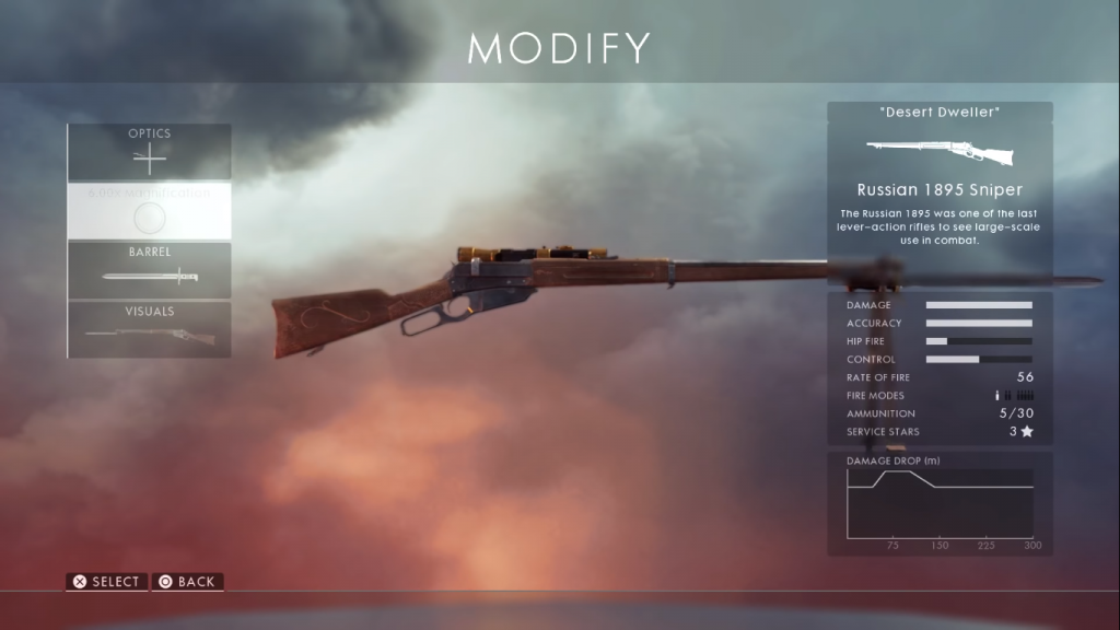 Game card showing Russian 1895 one of the best sniper rifles in Battlefield 1