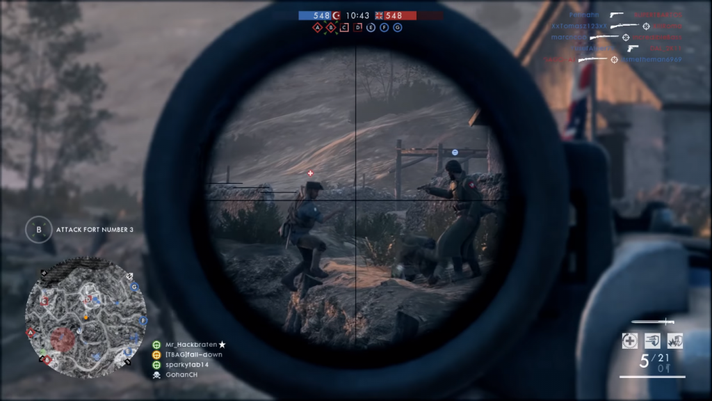 Gameplay showing the Russian 1895 sniper