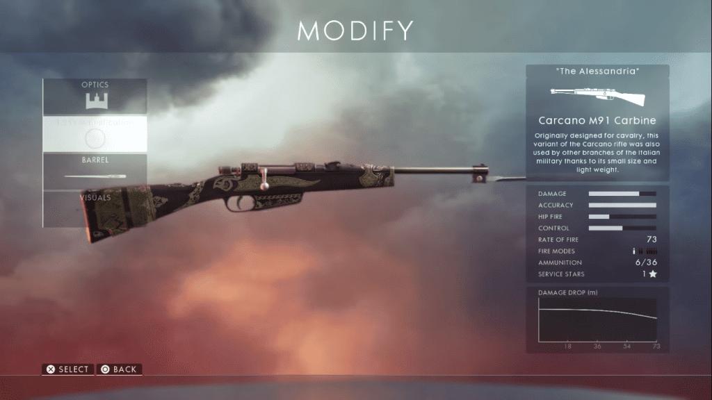 Gun card showing Carcano M91