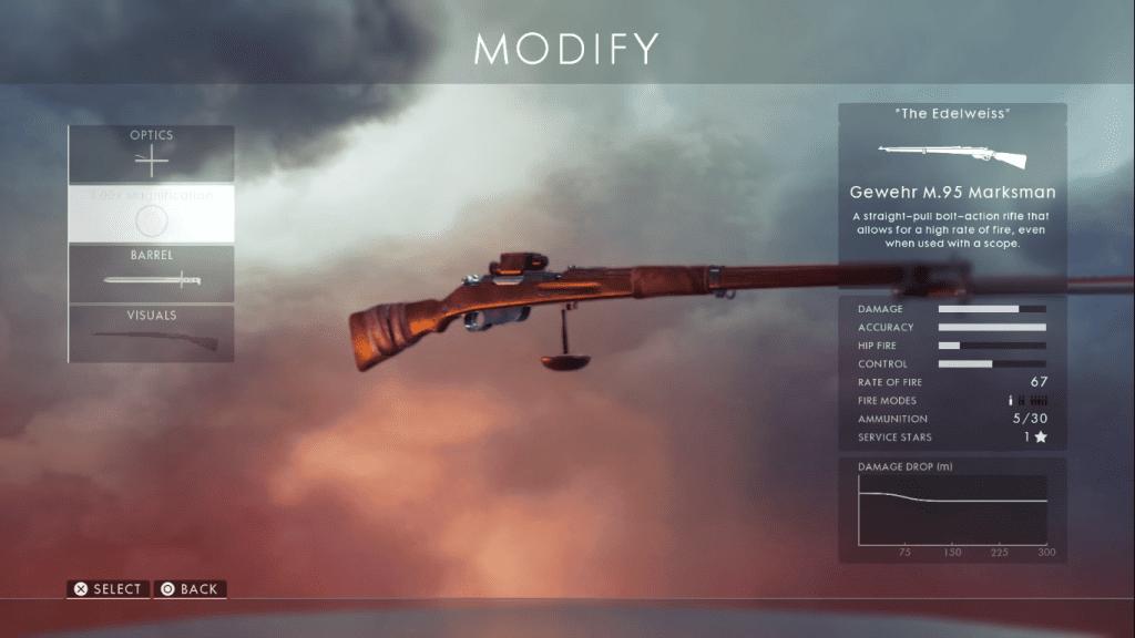 Gun card showing Gewehr M95 one of the best sniper rifles in Battlefield 1