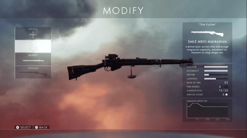 Gun card showing SMLE MK III marksman- the best sniper rifle in Battlefield 1