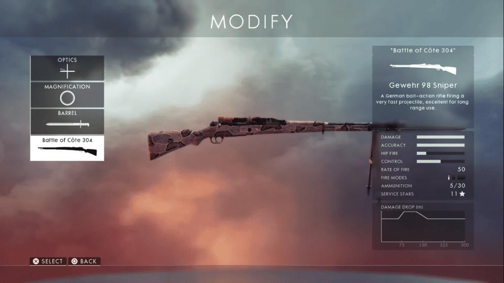 Gun card showing Gewehr 98 one of the best sniper rifles in Battlefield 1