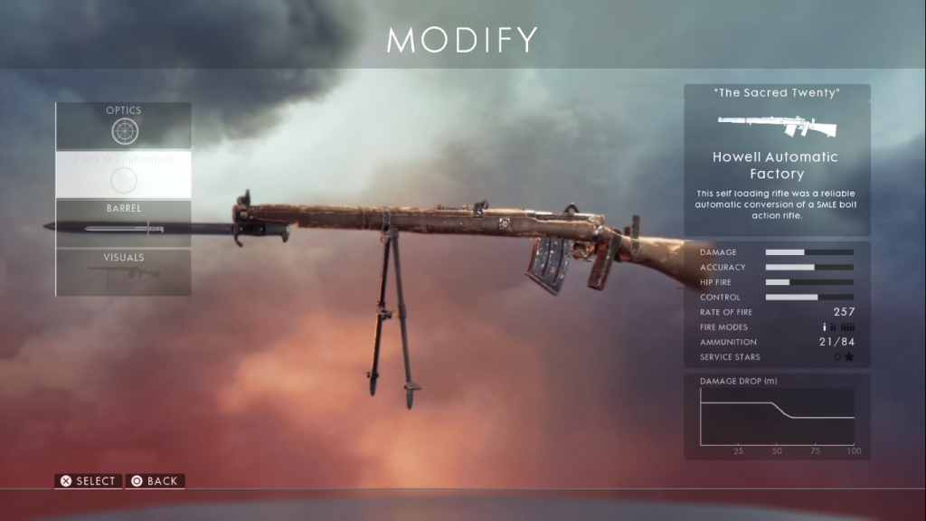 Howell Automatic weapon card, one of the best medic rifles in Battlefield 1.