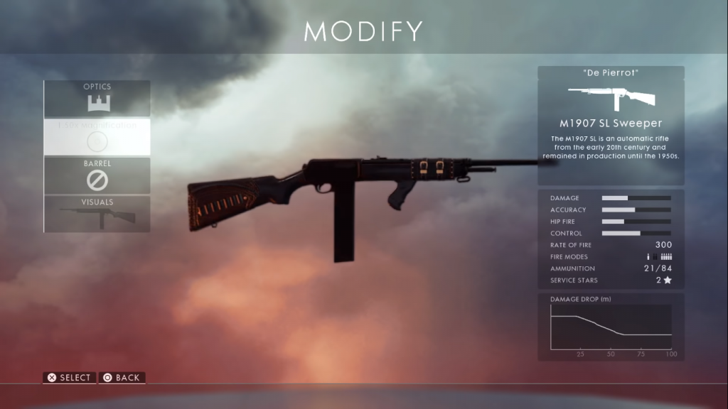 Weapon card for M1907 SL Sweeper, the best medic rifle.